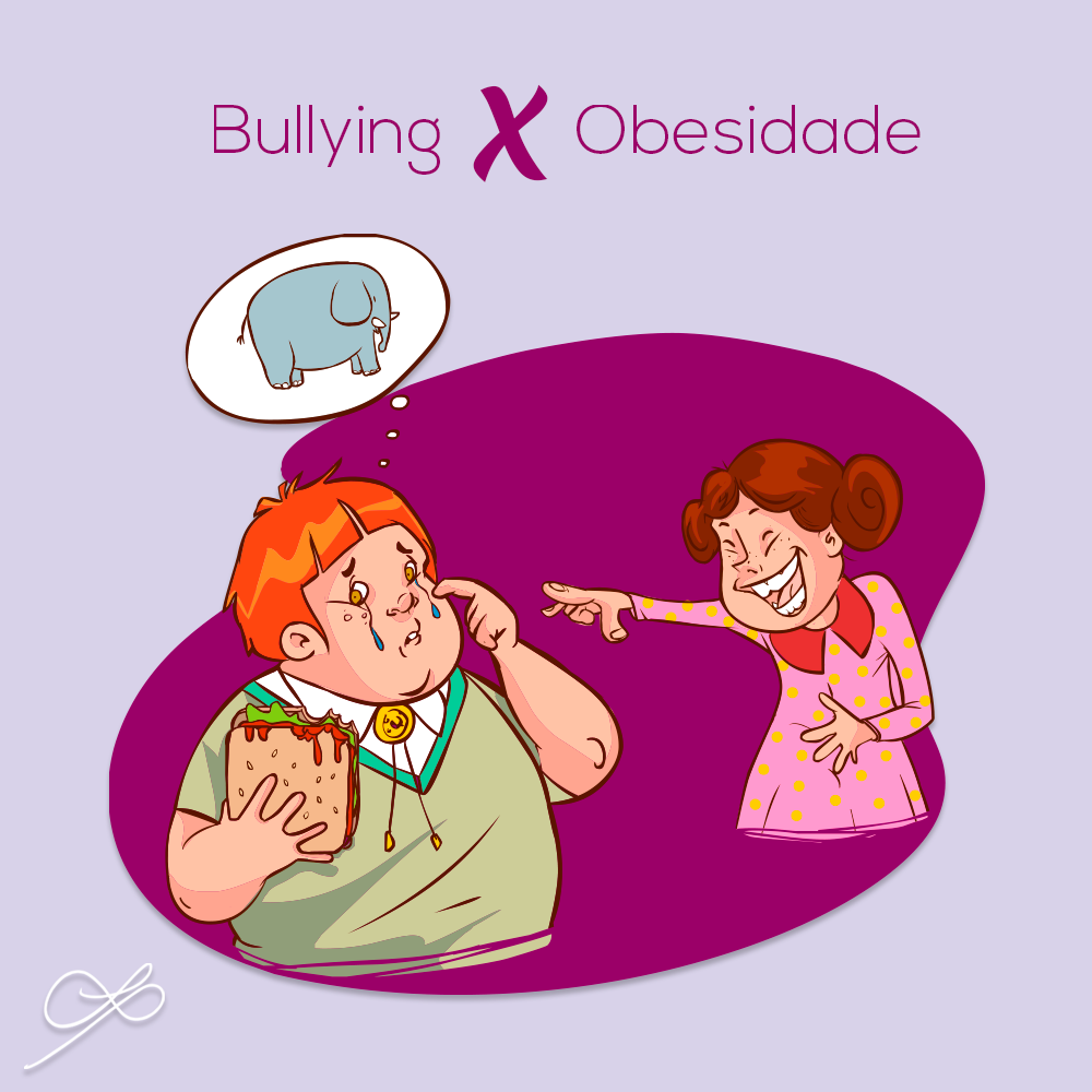 imagem de bullying x obesidade - criança comendo e sofrendo bullying